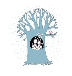 Magic tree and cute rabbits vector
