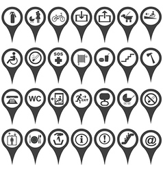 map markers with international service signs vector image