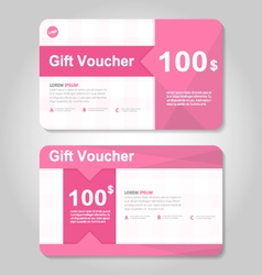 Pink gift voucher template layout design set vector image vector image