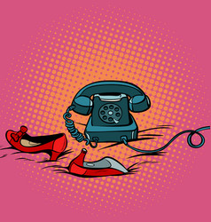 Retro phone and womens red shoes vector