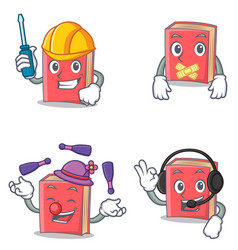 Set of red book character with automotive silent vector