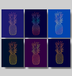 set of the pineapple posters vector image