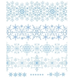 Snowflakes seamless bordersWinter pattern set vector image vector image