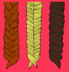 three braids painted by hand vector image vector image