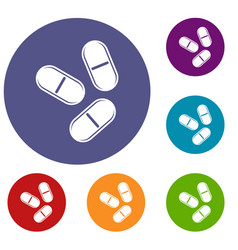 Three pills icons set vector