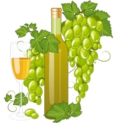 White wine bottle and wineglass vector image