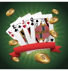 Cards of poker and coins design vector