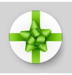 White gift box with light green bow and ribbon vector