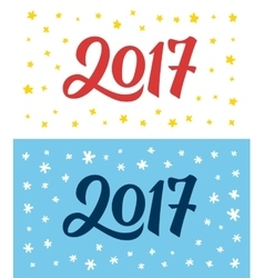 Happy New Year 2017 hand lettering numbers on card vector image