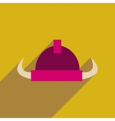 Flat web icon with long shadow viking helmet vector