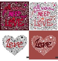Love postcard lettering love ink  modern brush vector