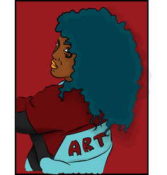 Woman with blue hair in a sweatshirt eps 8 vector