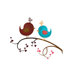 Love card with cute bird vector