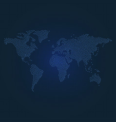 Dotted world map on dark blue dotted background vector