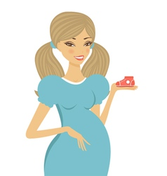 Pregnant woman holding shoe vector