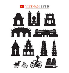 Vietnam landmarks architecture building object set vector
