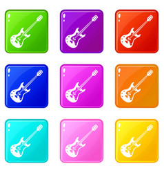 classical electric guitar icons 9 set vector image