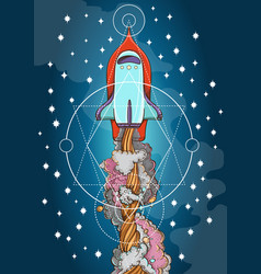 Conceptual on the theme of space travel flying in vector
