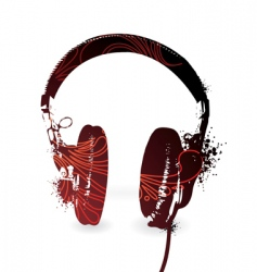 floral headphones vector image