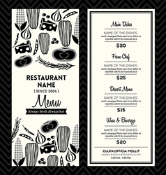 Black and White Restaurant Menu Design Template vector image