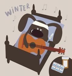 Cute sick doggie musician vector image