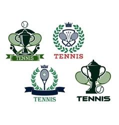 Set of tennis emblems or badges vector image