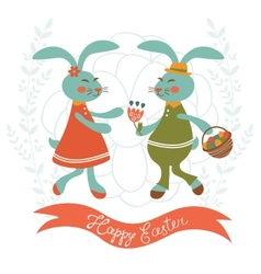 Easter card with cute rabbits couple vector