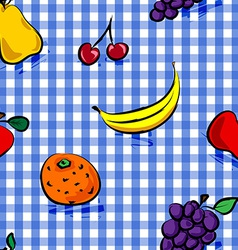 Seamless grungy fruits over blue gingham pattern vector