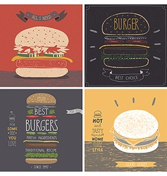 Burger cards - hand drawn style vector