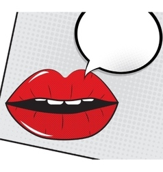 Open red lips with speech bubble pop art vector