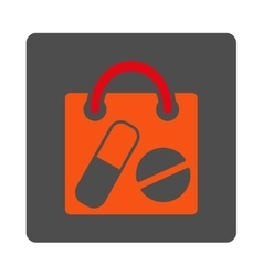 Drugs shopping bag rounded square button vector