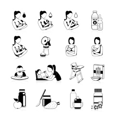 Baby feeding black icons set vector
