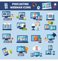 Podcasting and webinar icons set vector