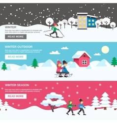 Winter season 3 flat banners set vector