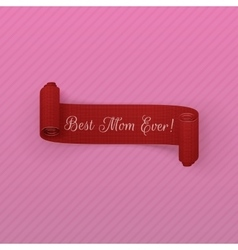 Mothers day red scroll banner vector