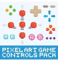 Pixel art game controls and buttons set vector