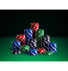 Casino chips isolated on green background vector