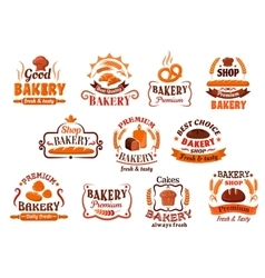 Bakery pastry and cake shop symbols retro style vector