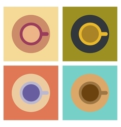 Assembly flat icons coffee cup flavor vector