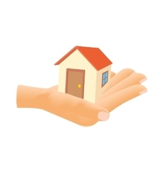 Hand holding house icon cartoon style vector