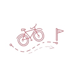 Bicycle with the route marked dotted line vector