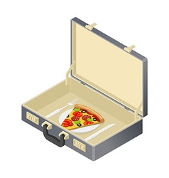 Business lunch pizza in case Suitcase with fast vector image vector image