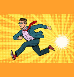 businessman running business concept vector image vector image