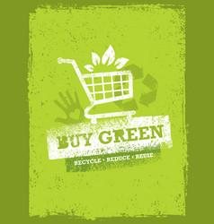 Buy green eco shopping cart organic food nature vector
