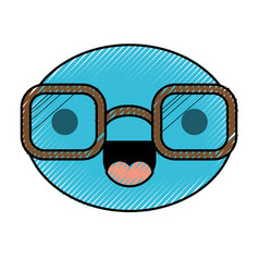 caricature round face with glasses and cheerful vector image vector image
