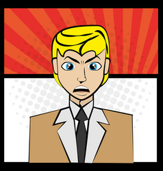 comic man angry pop art vector image