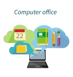 Computer office concept flat design icon vector