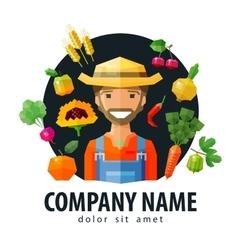 farmer fruiterer logo design template vector image