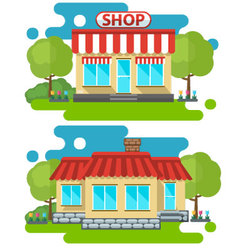Flat home and shop vector