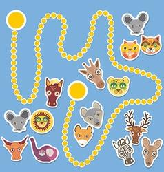 Funny cartoon animals game for preschool children vector